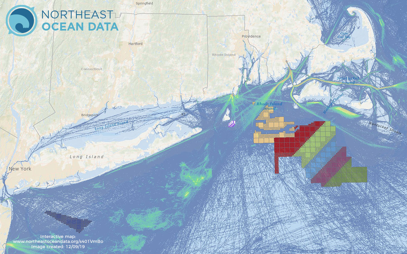 Offshore Wind Lease Areas, Operational Installations & Fishing Vessel Activity (2017 Transit Counts)