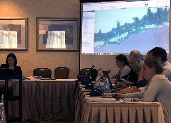 Fishery analyst Michelle Bachman of the New England Fishery Management Council demonstrates the Northeast Ocean Data Portal maps of coral management area alternatives at the NEFMC Habitat Committee's April 2017 meeting.