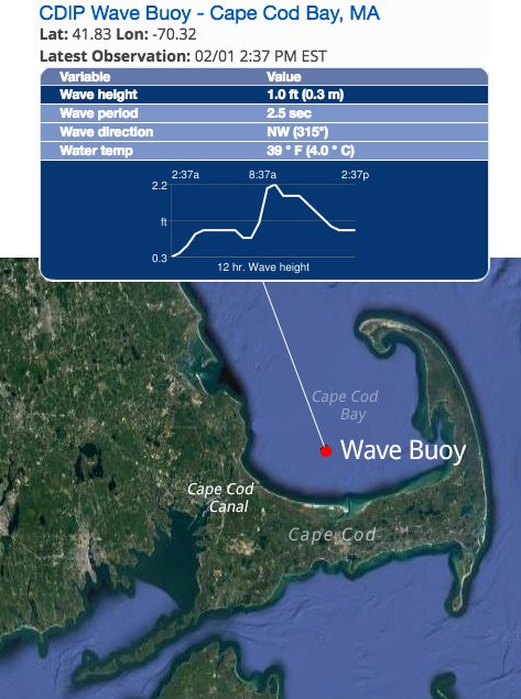 The new buoy transmits data on wave conditions and water temperature in real-time. The data are available on NERACOOS.org and other websites.
