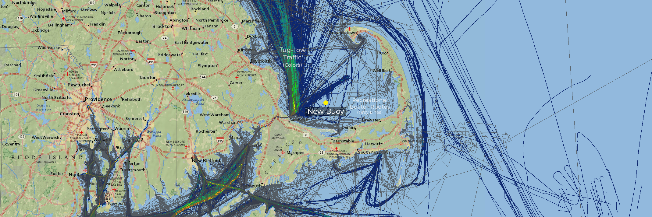 Screenshot of Northeast Ocean Data interactive map showing new buoy location with tug-tow traffic (colors) and recreational boater routes (grey lines).