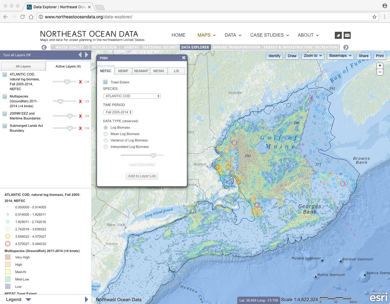 Screenshot of cod biomass (colored circles) overlaid with groundfish fishing vessel activity