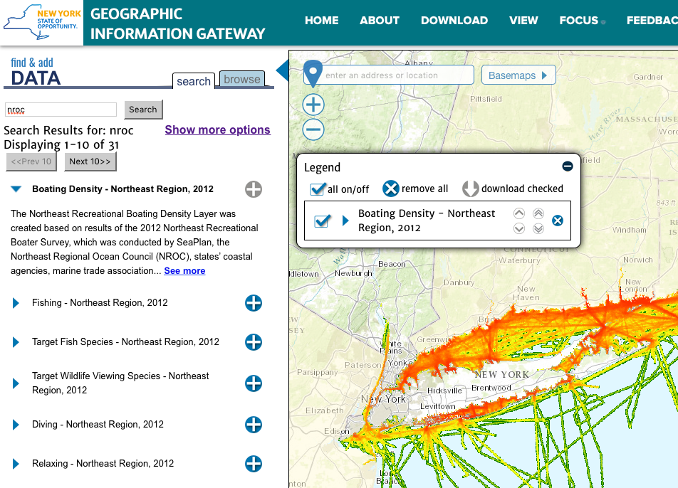 Screenshot of New York Geographic Information Gateway showing data on recreational boating.