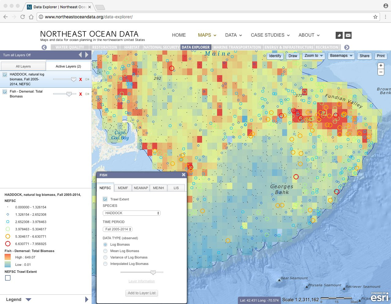 Screenshot of haddock biomass (colored circles) and total demersal fish biomass (colored squares) on Georges Bank