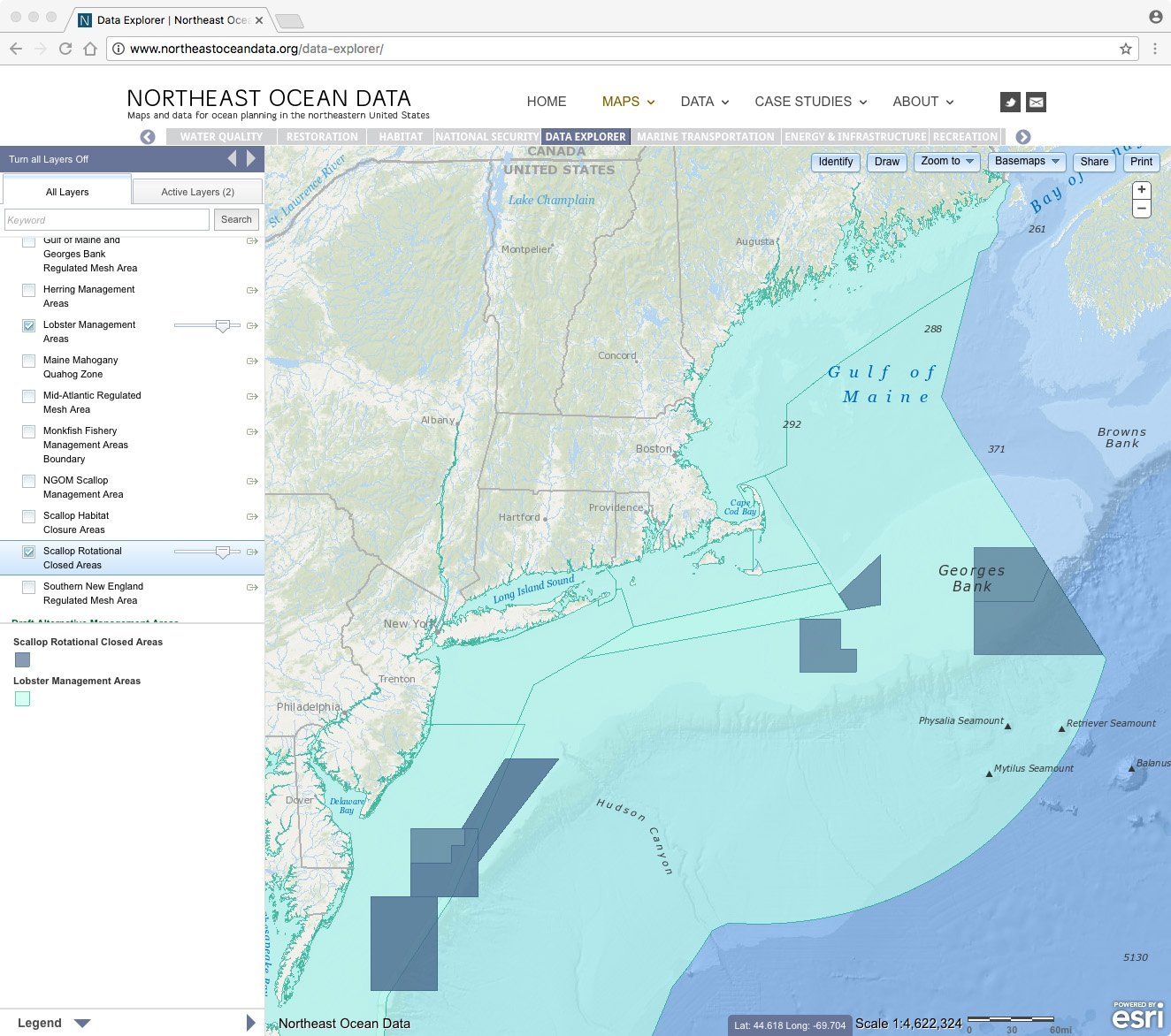 Screenshot of updated lobster and scallop fishery management areas
