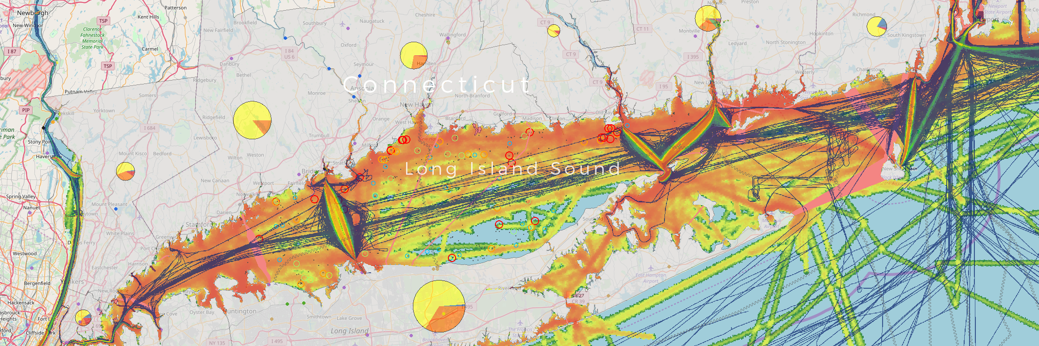 Screenshot of Northeast Ocean Data interactive map of Long Island Sound with a selection of data on ocean uses and marine life.