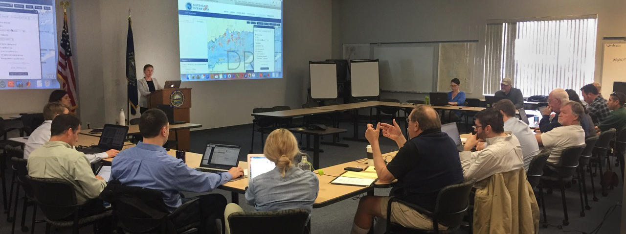 Staff members from state agencies and other organizations participate in a training session in New Hampshire for users of the Northeast Ocean Data Portal.