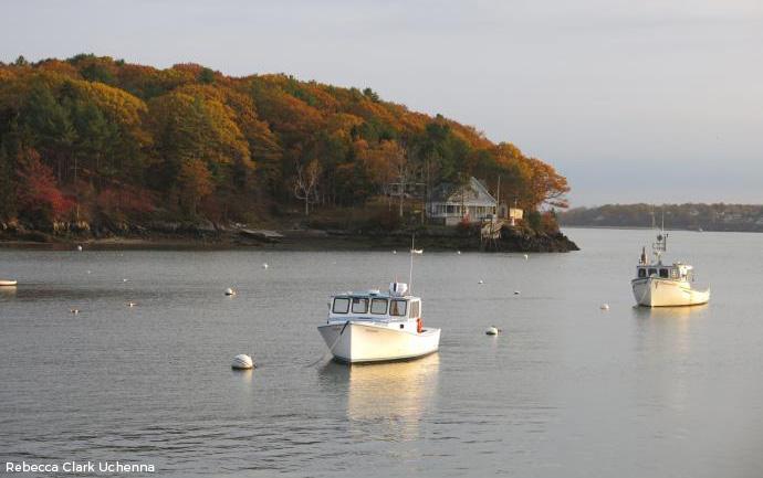 Lobster boats near Long Island in Casco Bay.