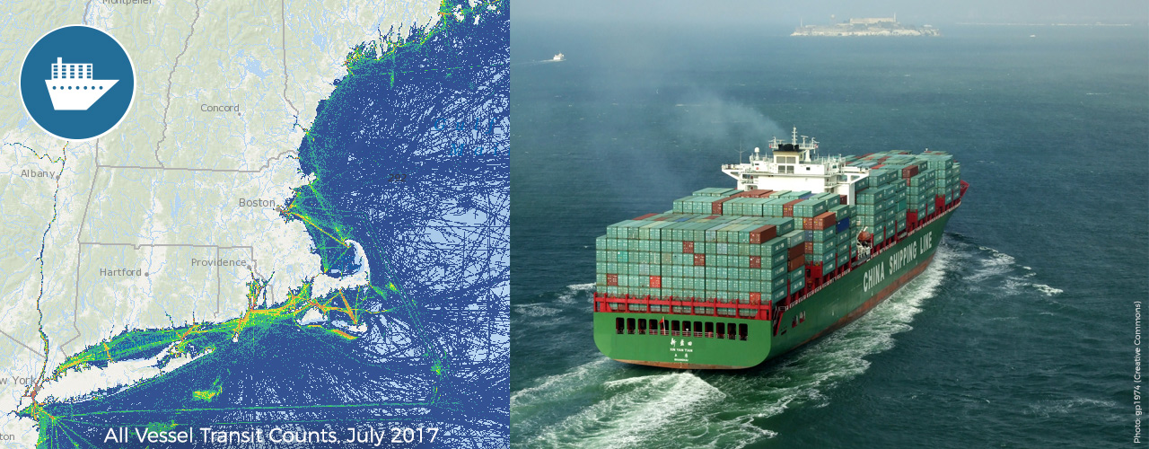 Ship Traffic Map.Vessel Traffic Data 2017 Northeast Ocean Data Portal