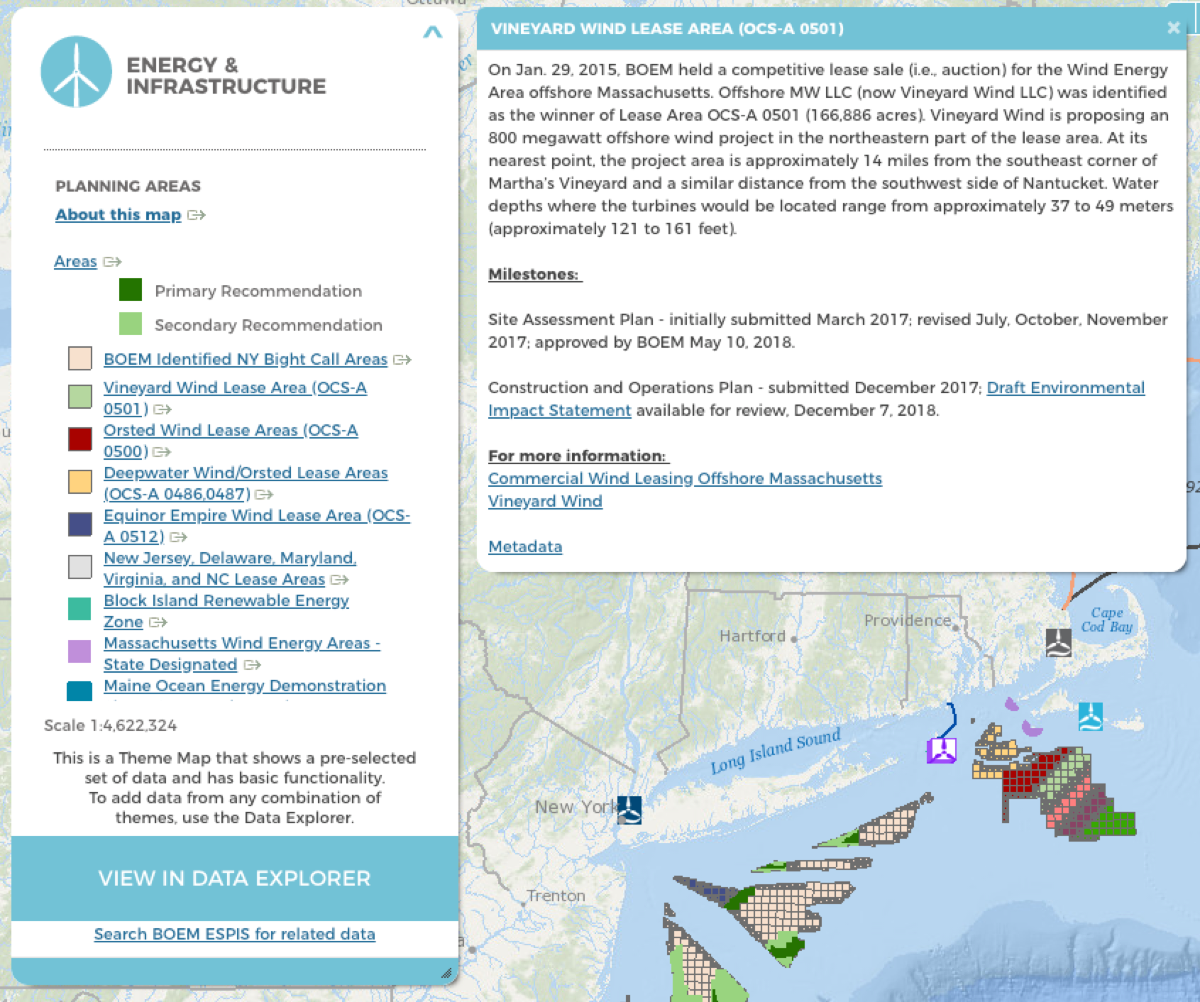 Screenshot of updated map of offshore energy planning areas