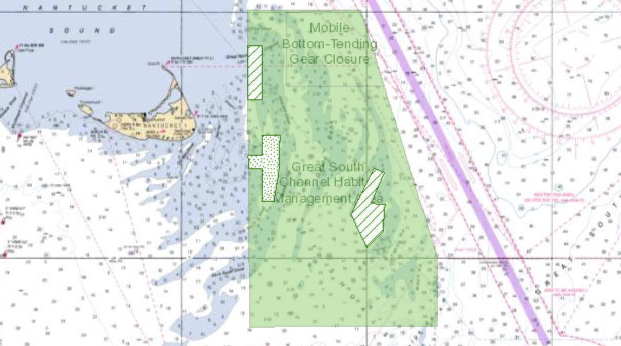 Map of surfclam and mussel dredge exemption areas