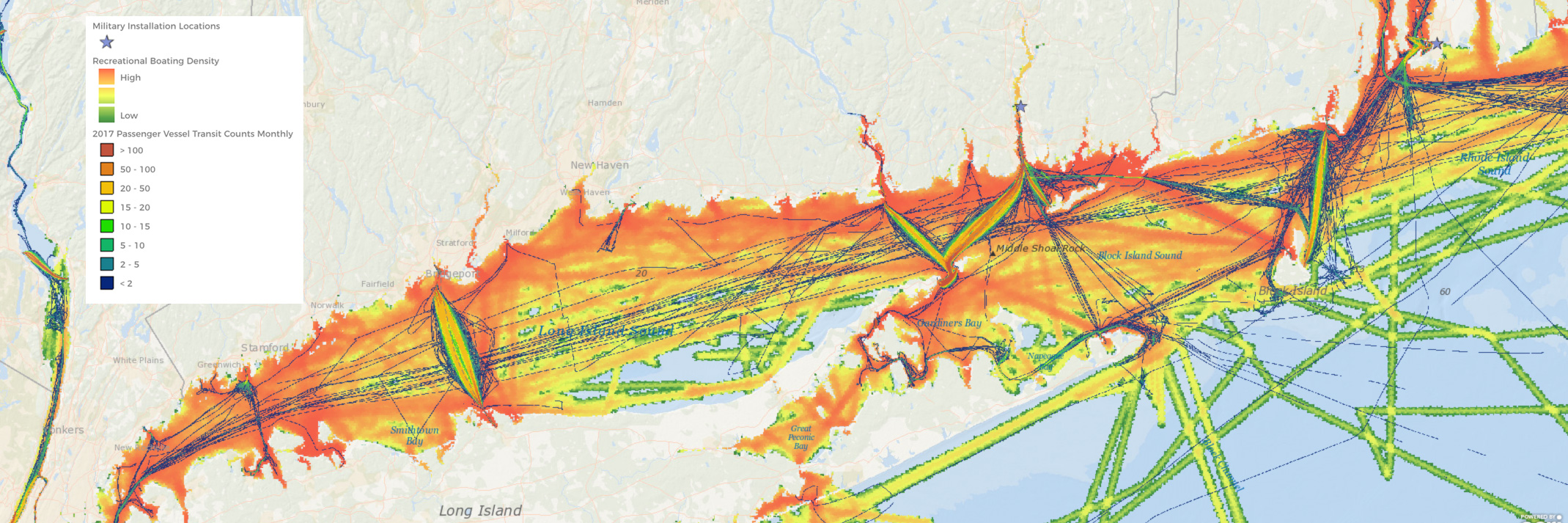 Screenshot of a Portal map showing ferry traffic and recreational boating density in Long Island Sound.