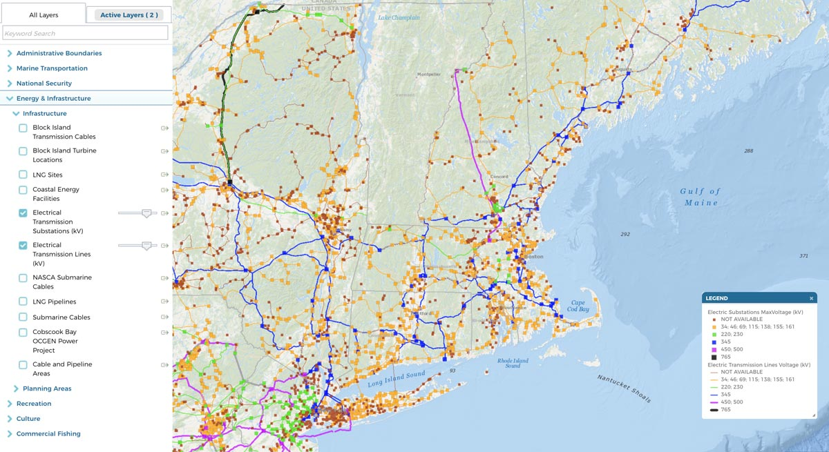 Map of electric transmission lines and substations