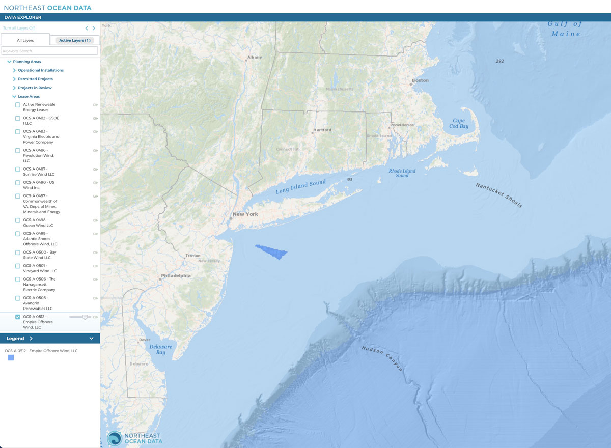 The proposed Empire Wind project would be constructed in federal waters south of Long Island, New York, in Lease Area OCS-A 0512.
