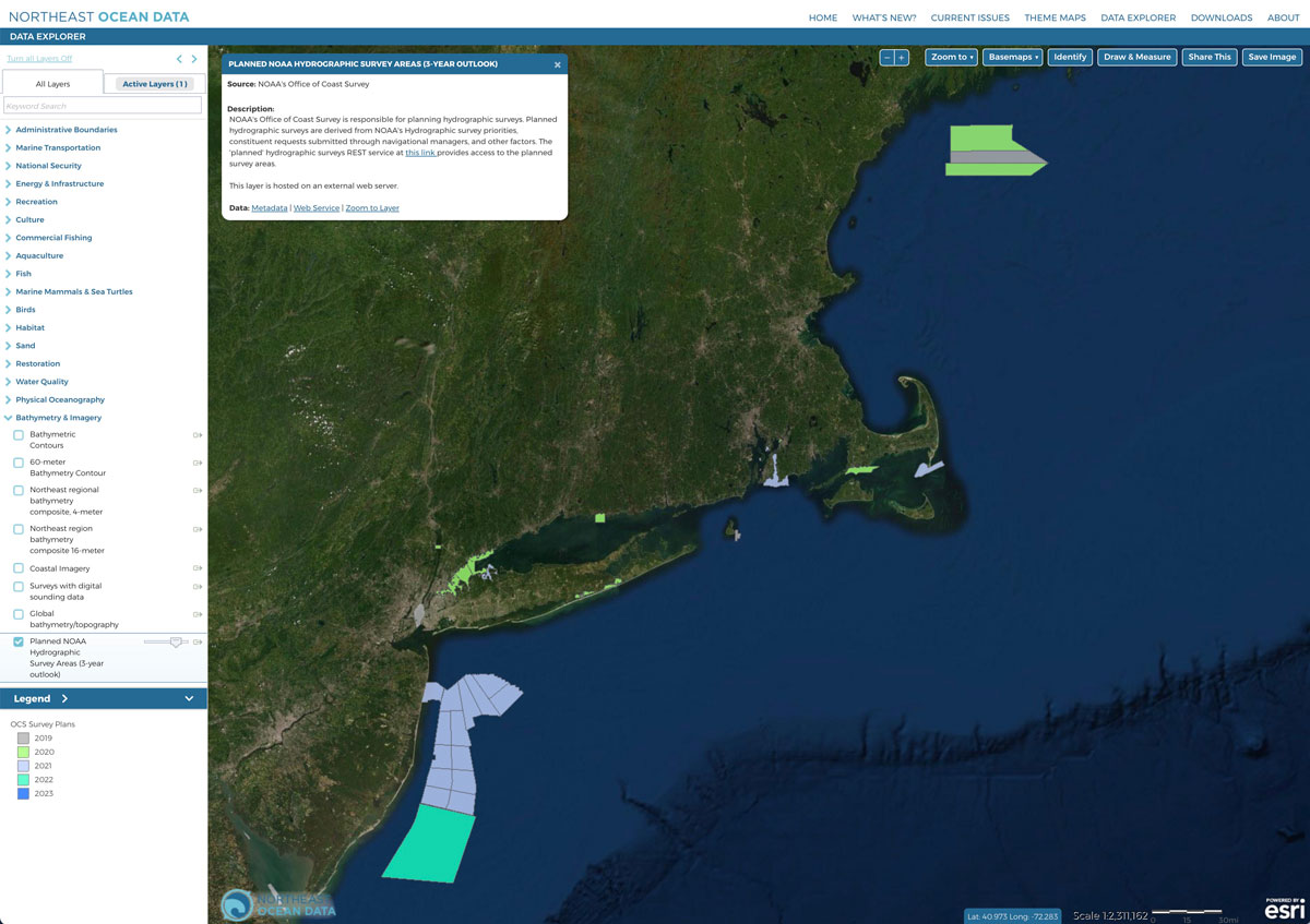 Screenshot of Planned NOAA Hydrographic Survey Areas map layer.
