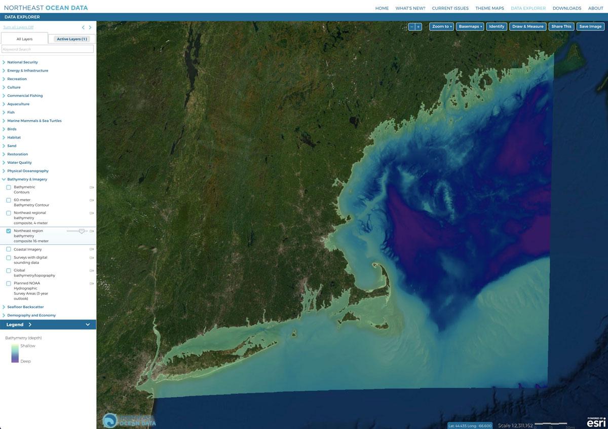 Screenshot of the 16-meter resolution bathymetry map.