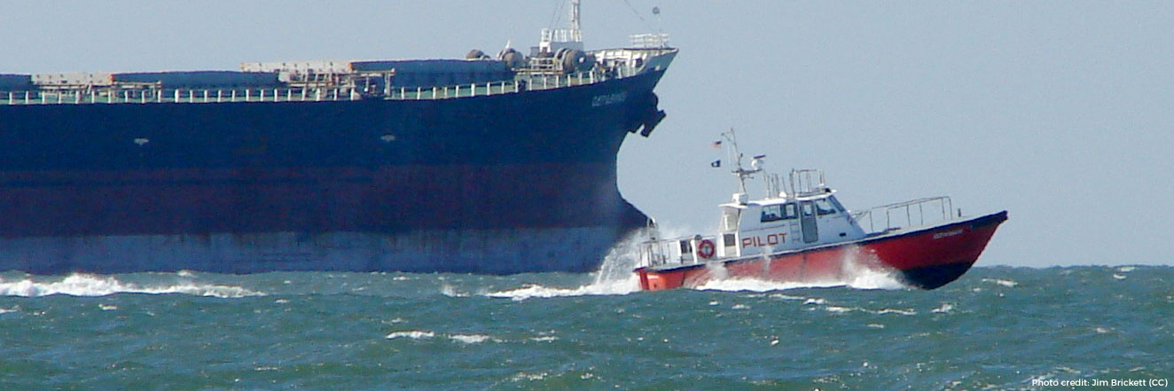 A pilot boat heading for an outbound ship from Chesapeake Bay.
