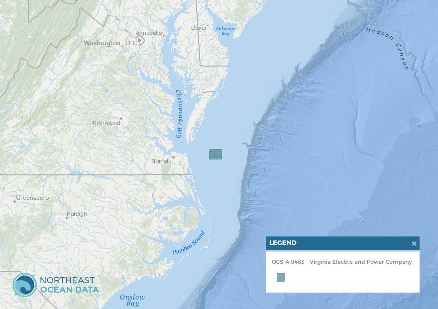 Screenshot of Data Explorer map showing Lease Area OCS-A 0483.