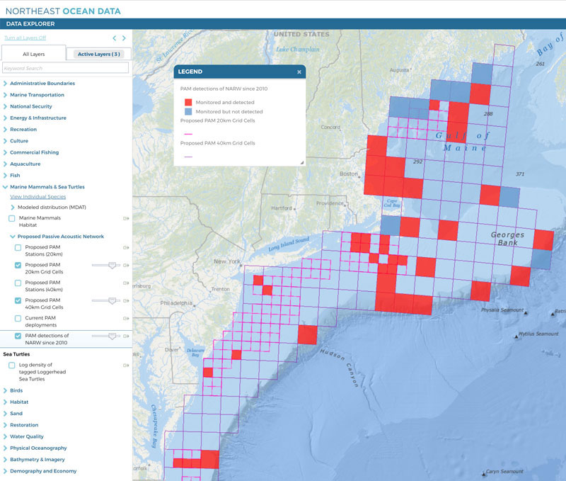 Map showing locations where North Atlantic right whales have been monitored and detected with PAM devices since 2010
